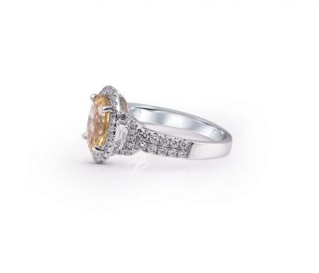 Yellow Beryl And Diamond Ring | B21359.1