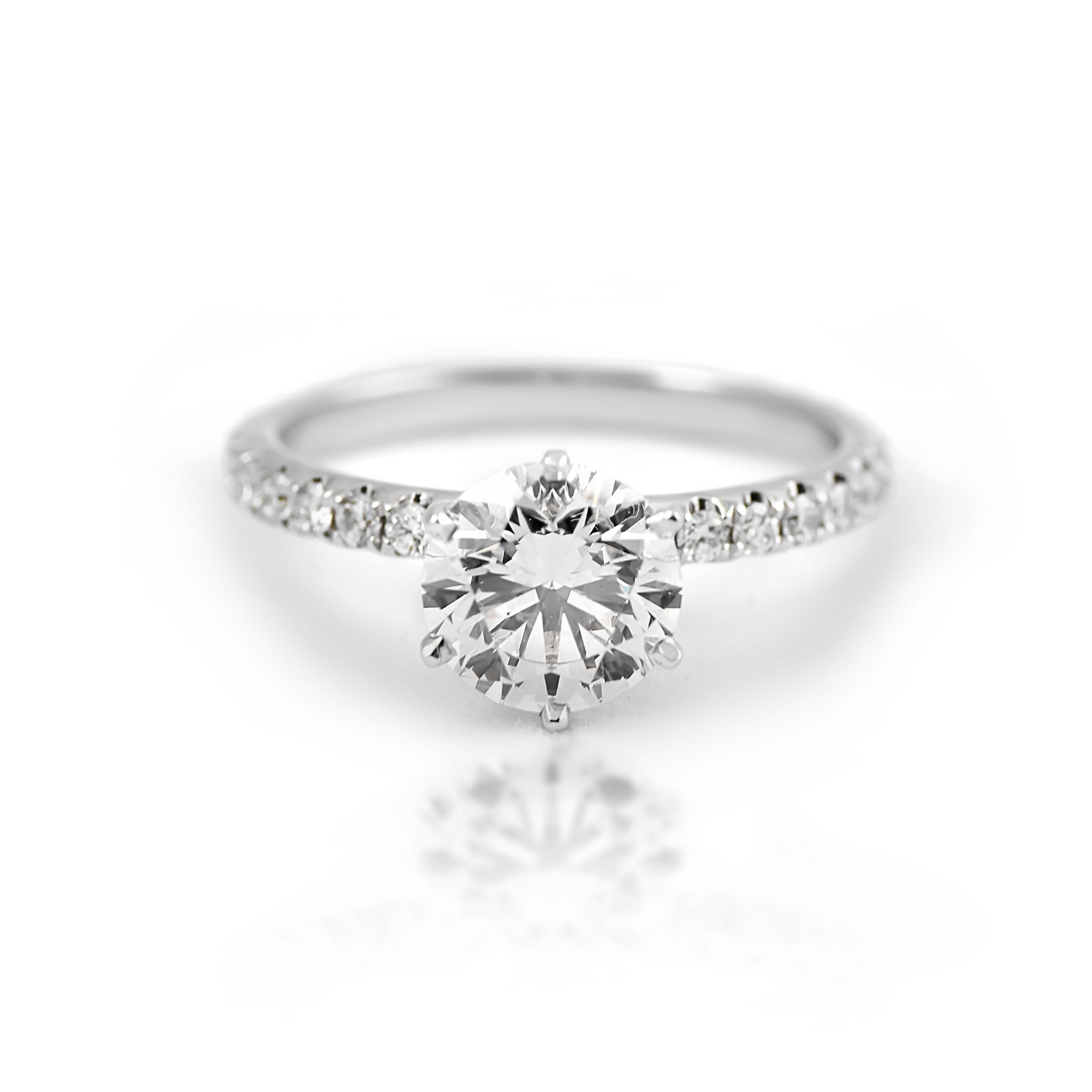 ring ct white brilliant gold in j halo rings set engagement diamond twt da round prong certified cut