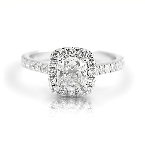 Cushion Cut Halo Diamond Engagement Ring | B21401