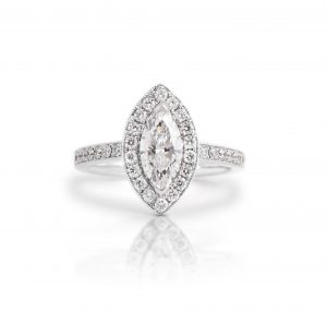 Marquise Diamond Halo Engagement Ring | B21398