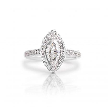 Marquise Diamond Halo Engagement Ring | B21398