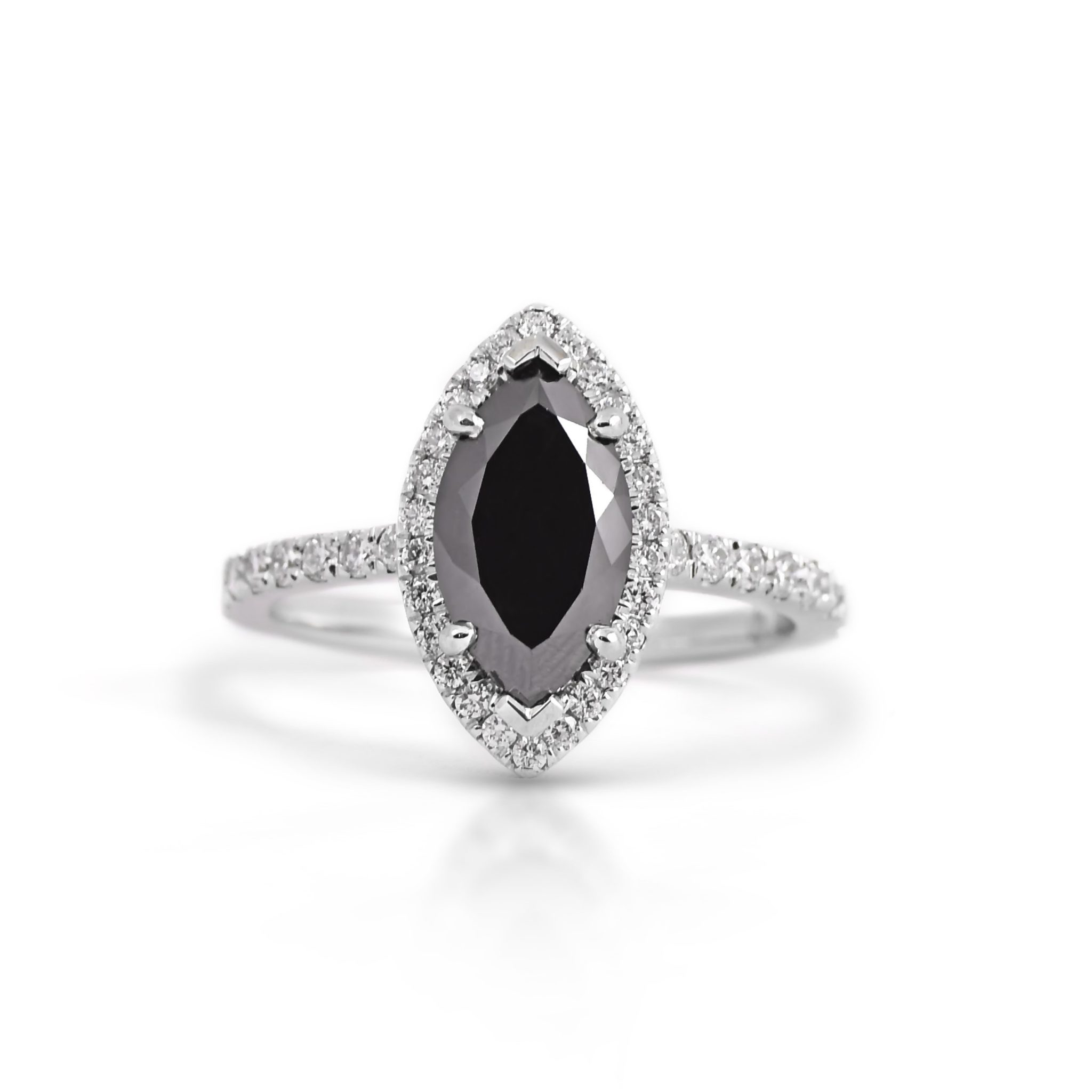 Marquise Black Diamond Halo Ring | B21423