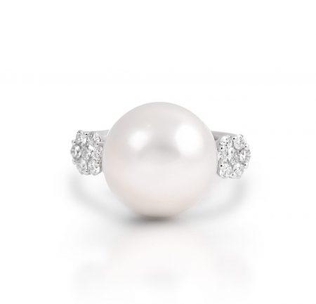 Diamond And South Sea Pearl Ring | B21411