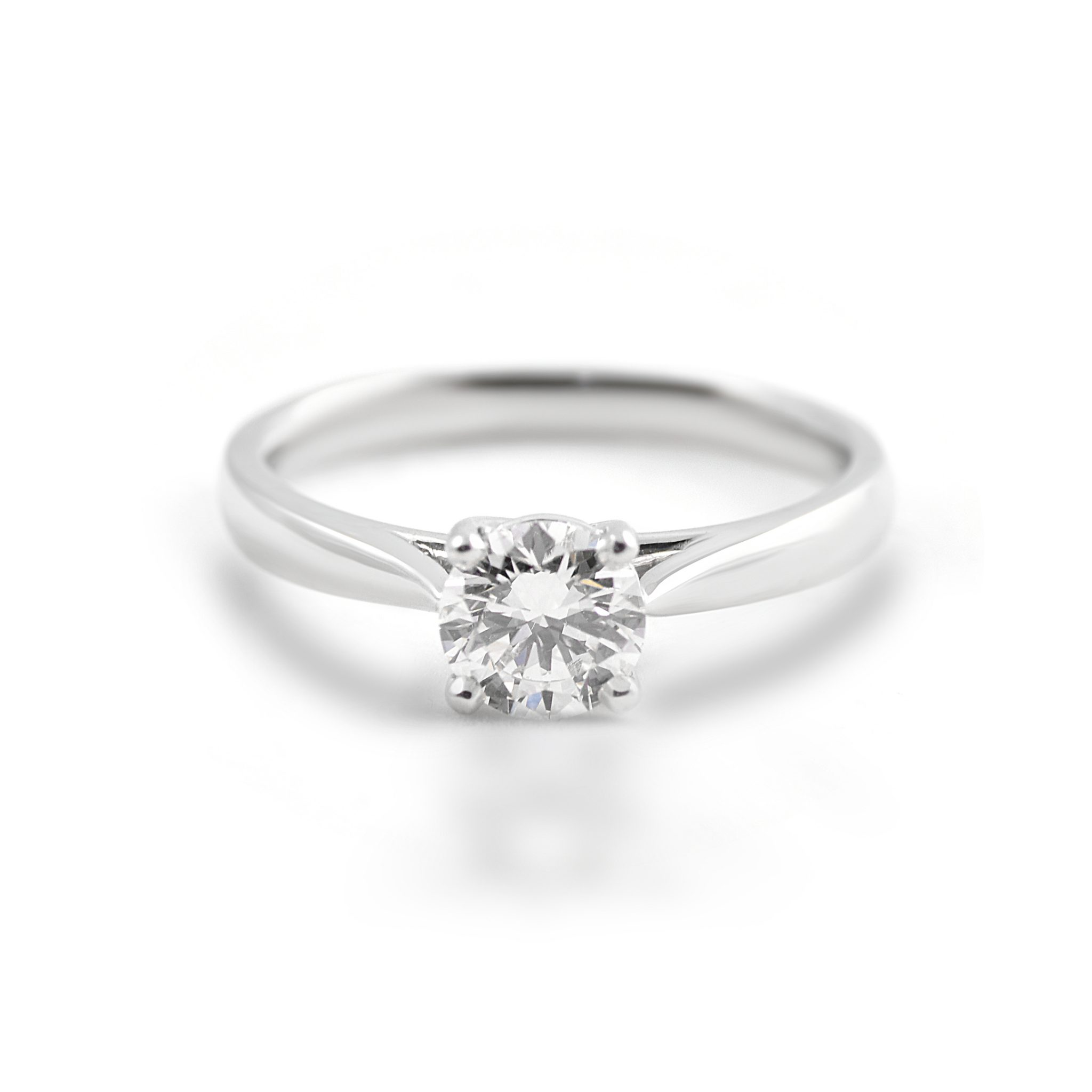 diamond engagement solitaire four claw platinum ring rings