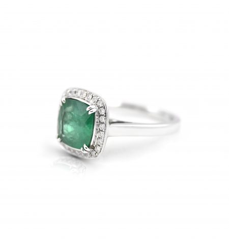 Emerald And Diamond Halo Ring | B14494