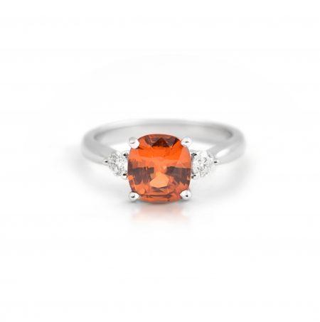 Mandarin Garnet and Diamond Trilogy Ring | B21576
