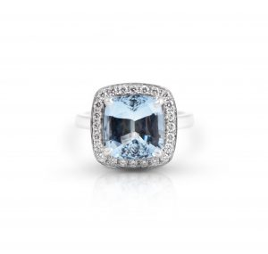 Aquamarine And Diamond Halo Ring | B21577