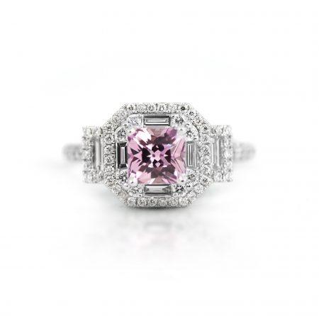 Pink Peach Sapphire And Diamond Art Deco Style Ring | B21967