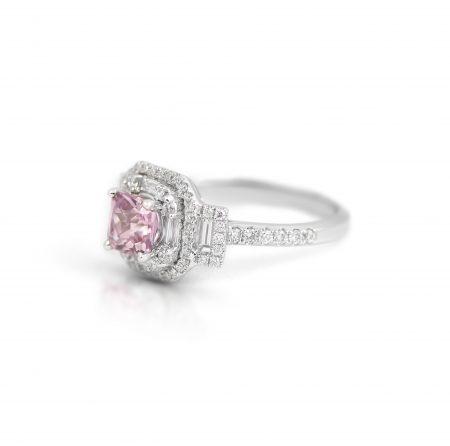 Deco Style Pink Peach Sapphire And Diamond Ring | B21967