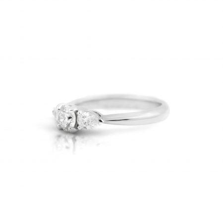 Round Brilliant And Pear Cut Diamond Trilogy Engagement Ring | B21972