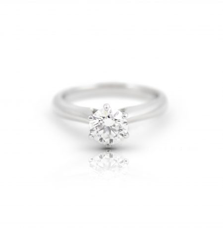 Classic Six Claw Diamond Solitaire Platinum Engagement Ring | B21995