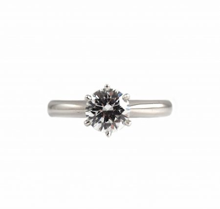 Classic Six Claw Diamond Solitaire Platinum Engagement Ring | B22743