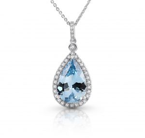 Aquamarine And Diamond Pendant | B22026