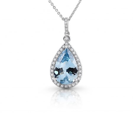 Aquamarine And Diamond Pendant | B22026