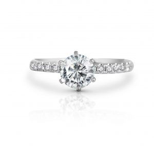 Classic Six Claw Diamond Engagement Ring With Diamond Set Shoulders | B22060