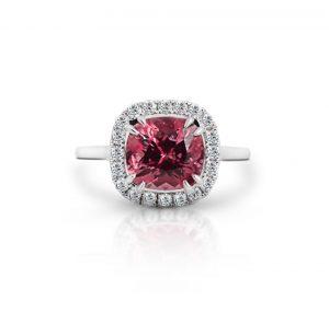 Cushion cut tourmaline and diamond ring   B22062