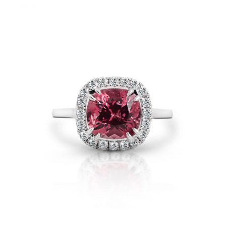 Cushion cut tourmaline and diamond ring | B22062