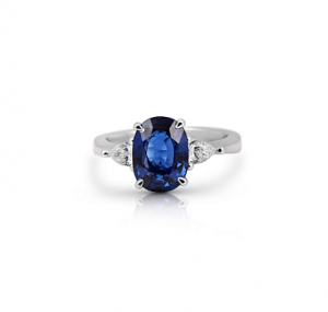 Sapphire And Pear Shape Diamond Ring | B22193