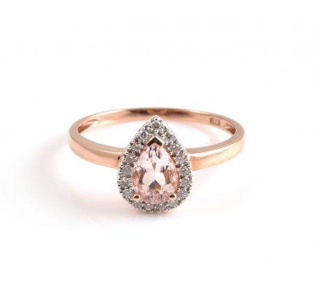 Morganite And Diamond Pear Shape Ring | B21126