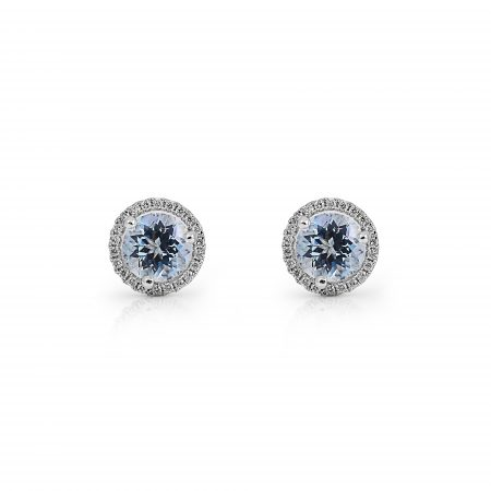Aquamarine And Diamond Halo Earrings | B21193