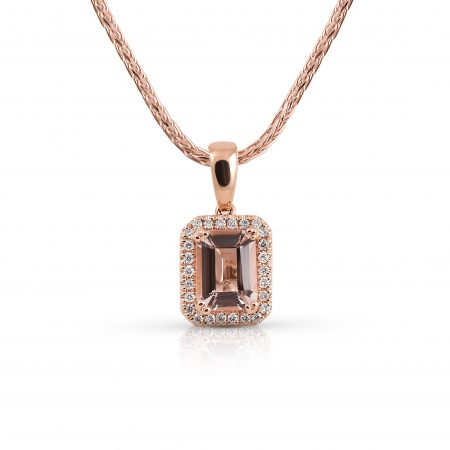 Morganite And Diamond Baguette Cut Pendant | B21097