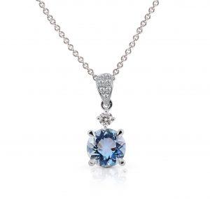 Aquamarine And Diamond Pendant | B21123