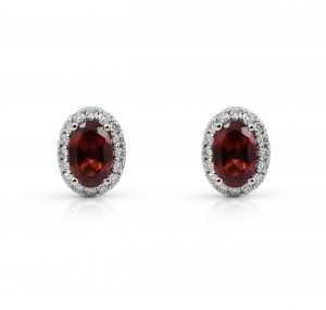 Garnet And Diamond Halo Earrings | B22210