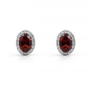 Garnet And Diamond Halo Earrings | B22210