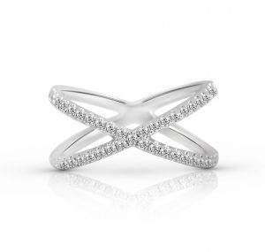 Diamond set cross band | B22251