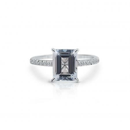 emerald cut aquamarine and diamond ring | B22272