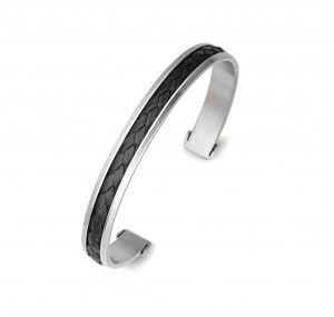 Stainless Steel Leather Bangle | B21232