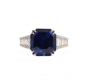Sapphire Octagon Cut and Diamond Ring | B22428