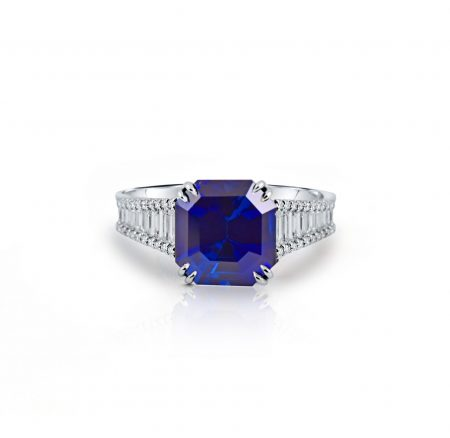 Octagon Cut Sapphire and Diamond Ring | B22428