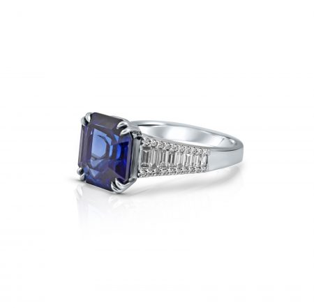 Octagon Cut Sapphire and Diamond Ring | B22428.1