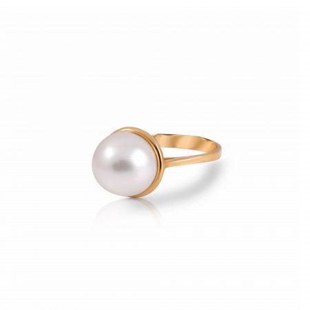 Bezel Set South Sea Pearl Ring | B22233