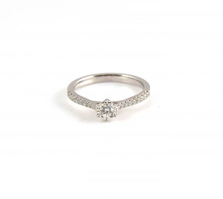 Six Claw Solitaire Ring with Claw Set Diamond Shoulders | B22390