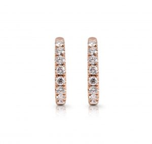 Rose Gold Diamond Hoop Earrings | B22438