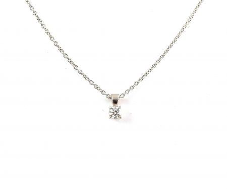 White Gold Four Claw And Diamond Pendant | B22410
