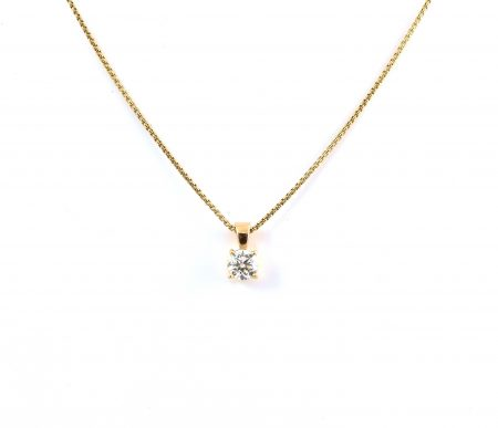 Yellow Gold Four Claw Diamond Pendant | B22411