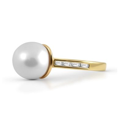 Baguette Diamond And South Sea Pearl Ring | B22247