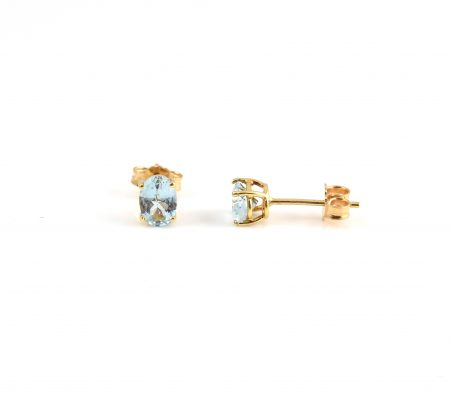 Aquamarine Yellow Gold Stud Earrings | B22424