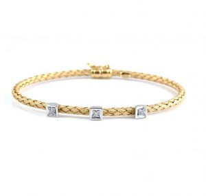 Woven Two Tone Diamond Bangle | B22476