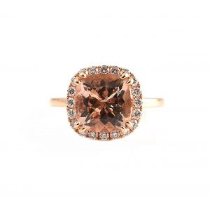 Morganite And Diamond Halo Ring | B22520