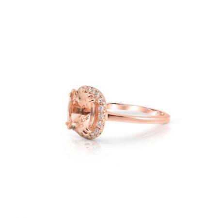 Morganite And Diamond Halo Ring | B22520
