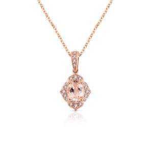 Morganite And Diamond Pendant | B22526