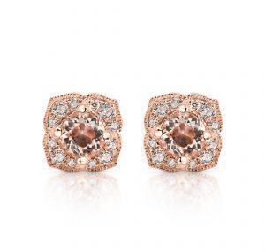 Morganite And Diamond Stud Earrings | B22527