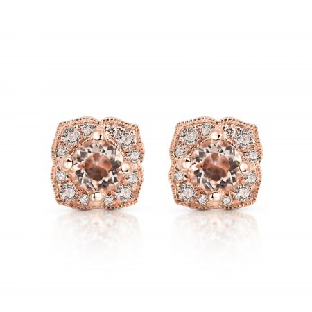 Morganite And Diamond Stud Earrings | B22527