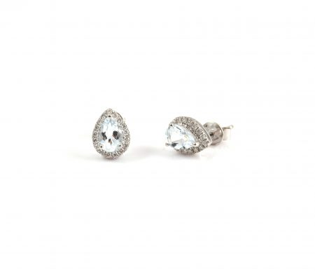 Aquamarine And Diamond Earrings | B22602