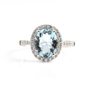 Aquamarine And Diamond Ring | B22665