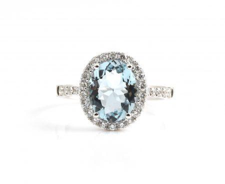 Aquamarine And Diamond Ring | B22665